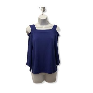 Chico's blue cold shoulder blouse in size S